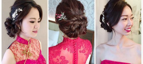 新娘文定造型│訂婚造型│紅色禮服造型